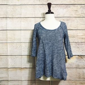 Anthropologie Deletta 3/4 Sleeve Blue Top